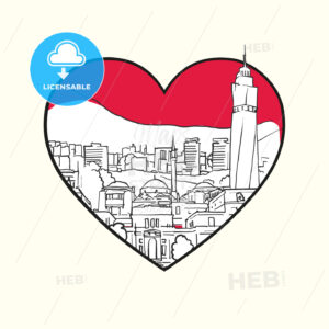 I love Sarajevo. Red heart and famous buildings - HEBSTREITS Sketches