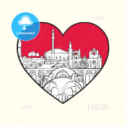 I love Skopje. Red heart and famous buildings - HEBSTREITS Sketches