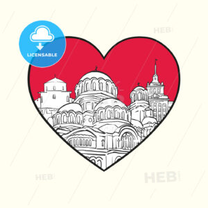 I love Sofia. Red heart and famous buildings - HEBSTREITS Sketches