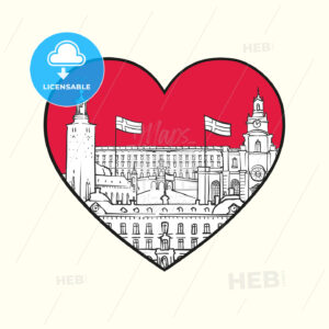 I love Stockholm. Red heart and famous buildings - HEBSTREITS Sketches