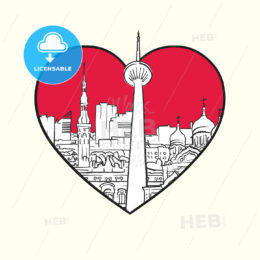 I love Tallinn. Red heart and famous buildings - HEBSTREITS Sketches