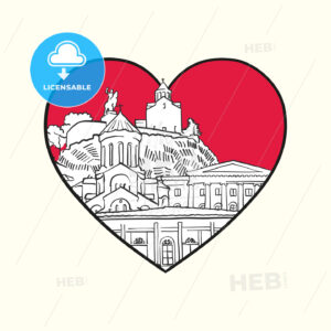 I love Tbilisi. Red heart and famous buildings - HEBSTREITS Sketches