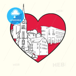 I love Vaduz. Red heart and famous buildings - HEBSTREITS Sketches