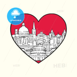 I love Valletta. Red heart and famous buildings - HEBSTREITS Sketches