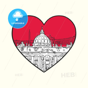 I love Vatican. Red heart and famous buildings - HEBSTREITS Sketches