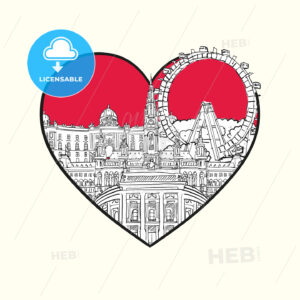 I love Vienna. Red heart and famous buildings - HEBSTREITS Sketches