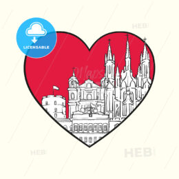 I love Vilnius. Red heart and famous buildings - HEBSTREITS Sketches
