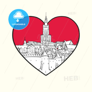 I love Warsaw. Red heart and famous buildings - HEBSTREITS Sketches