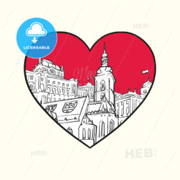I love Zagreb. Red heart and famous buildings - HEBSTREITS Sketches
