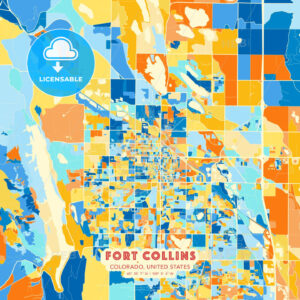 Fort Collins, Colorado, United States blue and orange vector art map template - HEBSTREITS Sketches