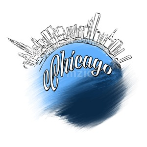 Chicago Landmark Logo Design Stock Vector