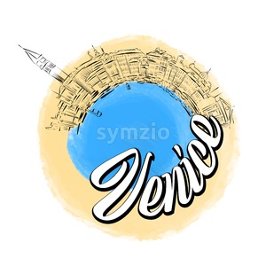 Venice colored landmark logo Stock Vector