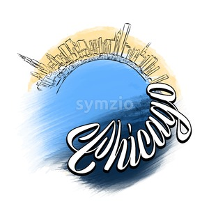 Chicago Travel Logo Sketch Stock Vector