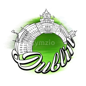 Dublin Panorama Logo Design Stock Vector