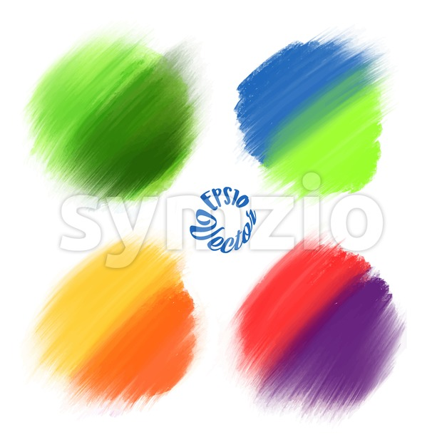 4 Colored Vector paint brushes. Various background elements for print decoration