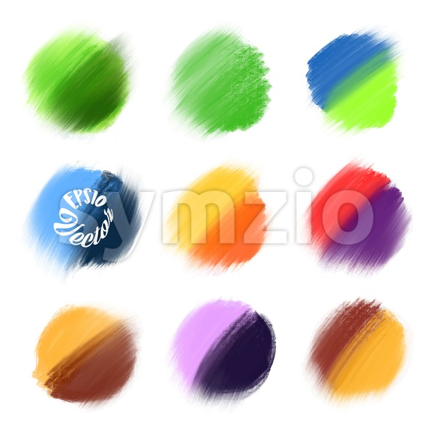 9 Colored Vector paint elements. Various background brushes for print decoration