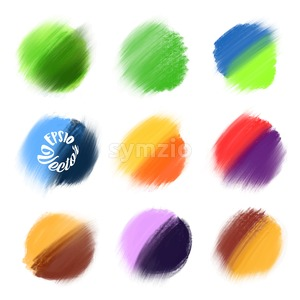 9 Colored Vector paint elements. Stock Vector