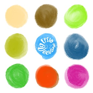 A set of round watercolor stains Stock Vector