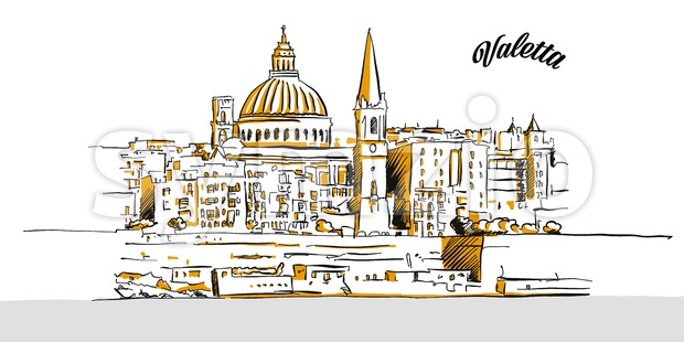 Sketch of Valetta, Malta Stock Vector