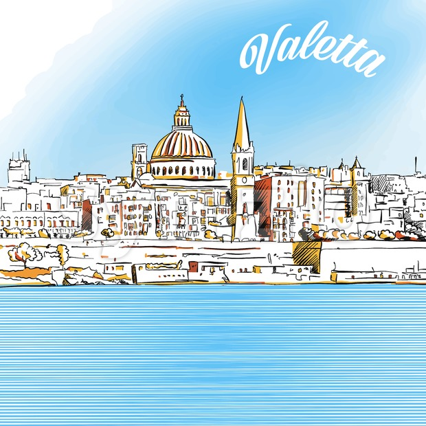 Colored Sketch of Valetta, Malta Stock Vector