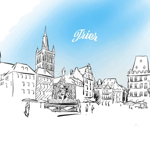 Sketch of Trier in Germany Stock Vector
