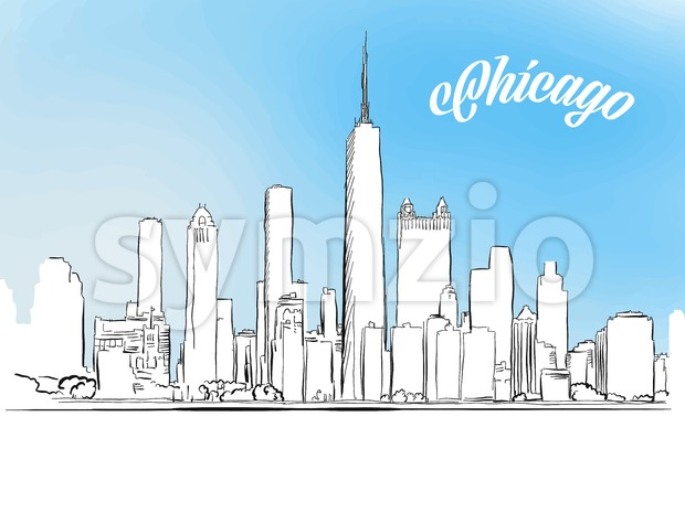 Sketch of Chicago, Illinois, USA Stock Vector