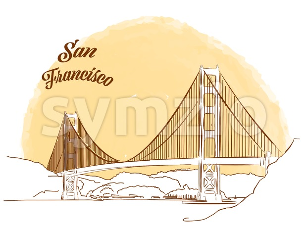 Sketch of Golden Gate Bridge Stock Vector