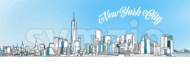 Sketch of New York City Skyline Stock Vector