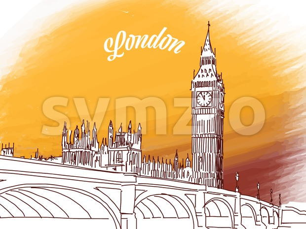 Sketch of Big Ben in London Stock Vector