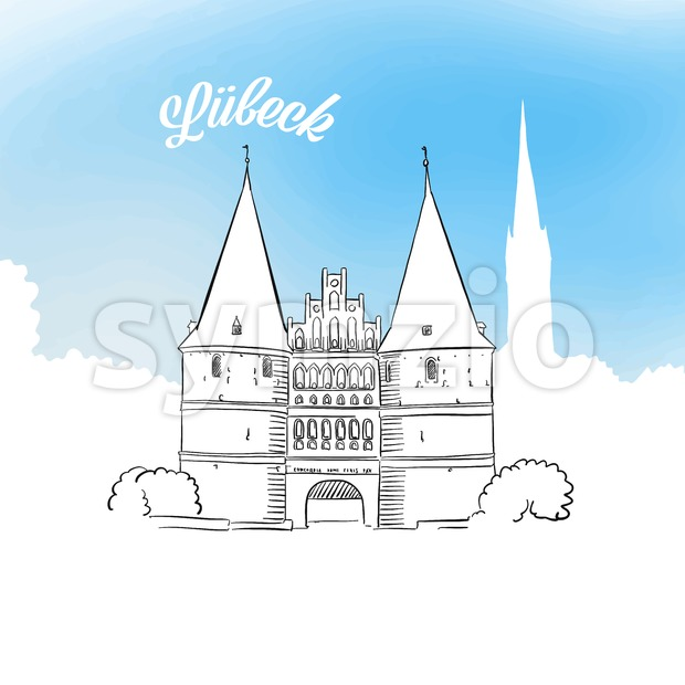 Sketch of Holstentor in Lubeck Stock Vector