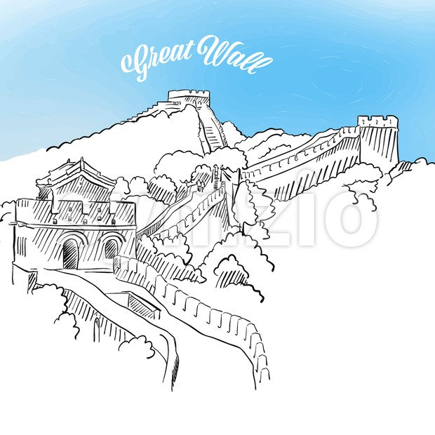 Sketch of Great Wall in China Stock Vector