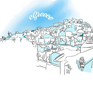 Sketch of Oia, Greece Stock Vector
