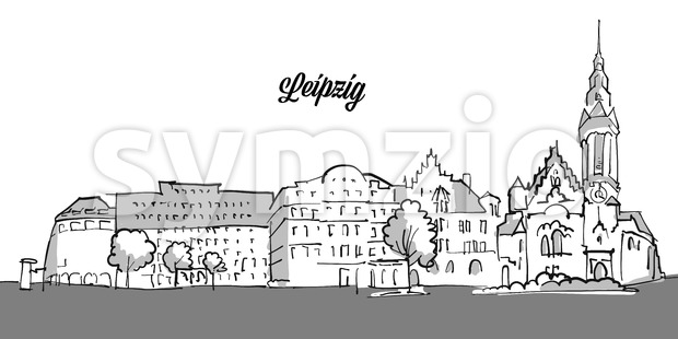 Leipzig Panorama Banner Vector Outline Sketch with Grey Footer