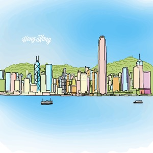 Hong Kong Colored Panorama Banner Stock Vector