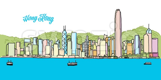 Hong Kong Colored Skyline Banner Stock Vector