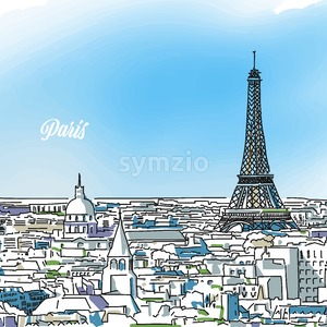 Paris Colored Panorama Banner Stock Vector