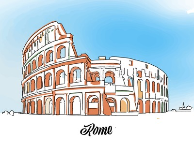 Rome Colloseum Sketch Stock Vector