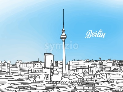Berlin Black and White Panorama Banner Stock Vector