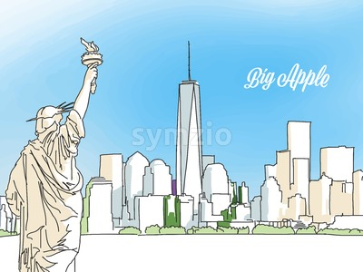 New York Big Apple Panorama Banner Stock Vector