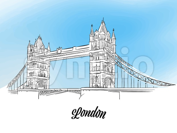 London Tower Bridge Banner Stock Vector