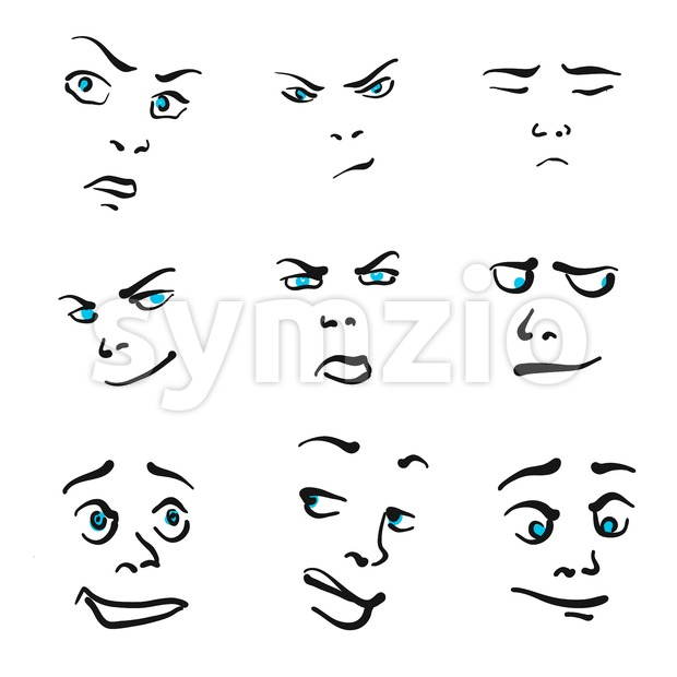 Nine Impressive Emoticon icons Stock Vector