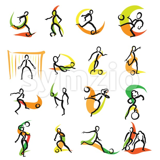 16 Soccer Doodle Icons Set, hand drawn sketches with colored swipe on white backgound. Vector art.