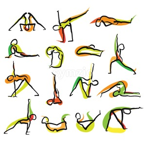 Set of 16 Yoga Doodle Icons Stock Vector