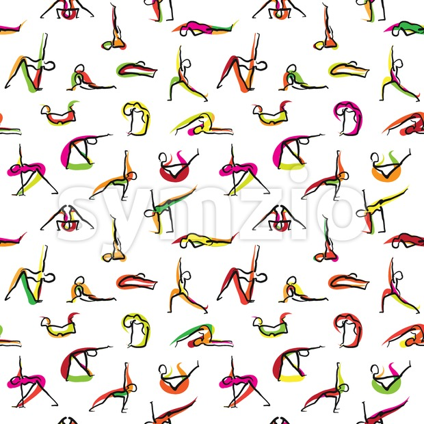 Yoga Seamless Wallpaper Pattern Stock Vector