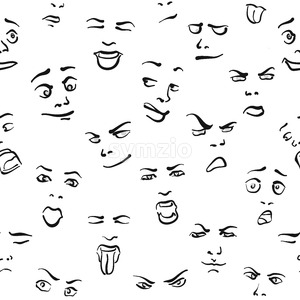 Seamless Set of Faces Stock Vector