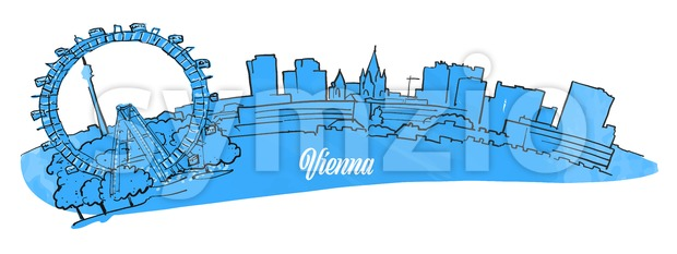 Vienna Citiyscape Panorama Stock Vector