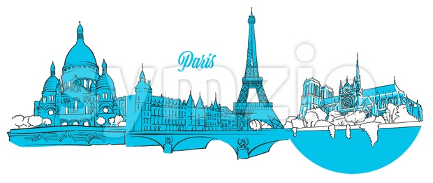 Paris Travel Landmarks Banner Stock Vector