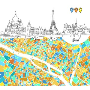 Paris Travel Sketches and Map Stock Vector