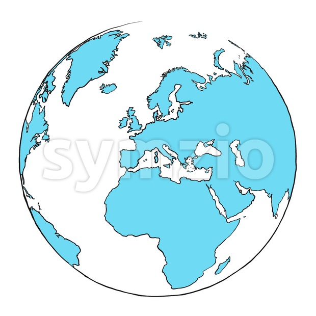 Outline Globe Focussed on Europe Stock Vector