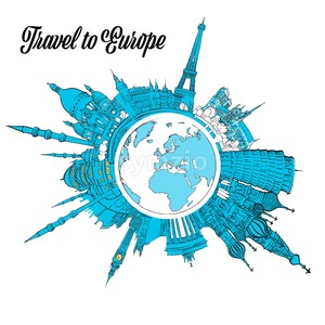 Travel to Europe Landmarks on Globe Stock Vector